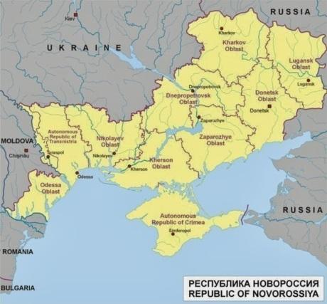 En kombinerad karta över det historiska och dagens Novorossiya